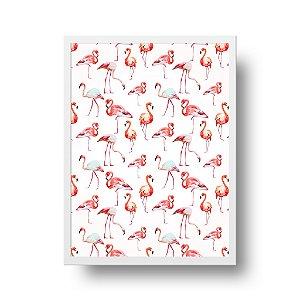 Quadro Decorativo Poster Flamingos - Padronagem, Fundo Branco