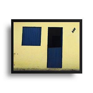 Quadro Decorativo Poster Foto Janela Azul - Casa, Fachada Amarela