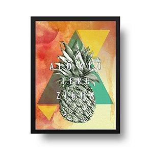 Quadro Decorativo Poster Frase Alô Alô Terezinha - Abacaxi, Geométrico, Triângulos