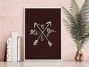 Quadro Decorativo Poster Frase Amor Me and You - Flechas, Preto e Branco