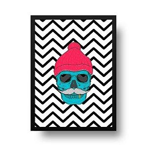 Quadro Decorativo Poster Geométrico Caveira Hipster - Chevron, Zig Zag