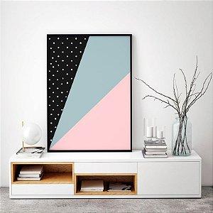 Quadro Decorativo Poster Geométrico Escandinavo - Abstrato, Faixas, Triângulos, Minimalista
