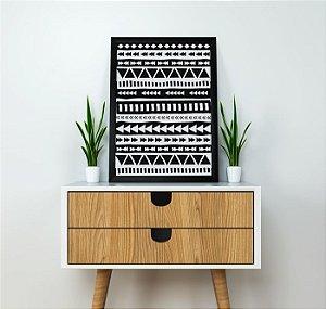 Quadro Decorativo Poster Geométrico Étnico Asteca - Minimalista, Triângulos, Preto, Branco