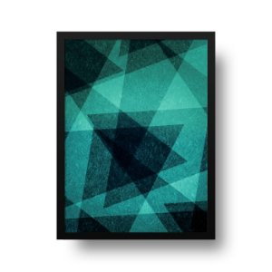 Quadro Decorativo Poster Geométrico Floresta Nebulosa - Verde, Abstrato, Triângulos