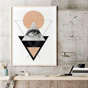Quadro Decorativo Poster Geométrico O Olho - Triângulos, Linhas, Abstrato, Minimalista