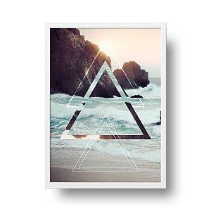 Quadro Decorativo Poster Geométrico Praia - Triângulos, Abstrato, Mar, Ondas