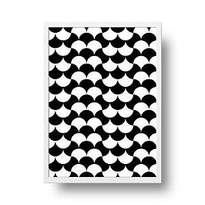 Quadro Decorativo Poster Geométrico Preto e Branco - Ondas, Abstrato