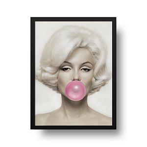 Quadro Decorativo Poster Marilyn Monroe - Bola, Chiclete, Rosa