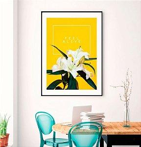 Quadro Decorativo Poster Natureza Flor Lírio - Fundo Amarelo