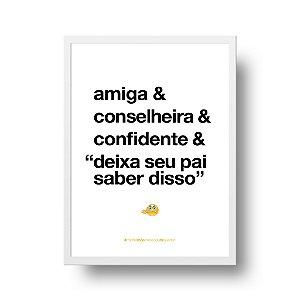 Quadro Decorativo Poster Para Mãe Amiga - Palavras, Homenagem, Mães
