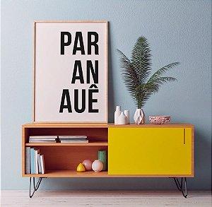 Quadro Decorativo Poster Paranauê - Palavra, Minimalista, Preto, Branco