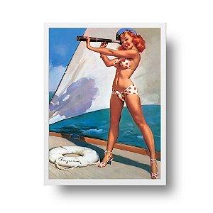 Quadro Decorativo Poster Pin Up Com Luneta - Vintage, Retrô, Sexy Girl