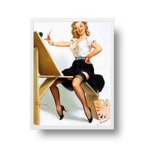 Quadro Decorativo Poster Pin Up Girl Pintando The Right Touch - Vintage, Retrô