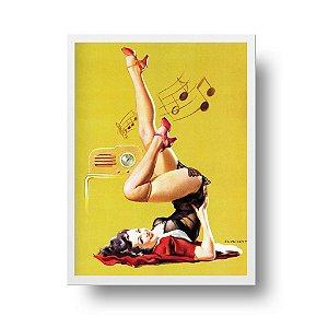 Quadro Decorativo Poster Pin Up Girl Station Wow - Rádio, Música, Vintage