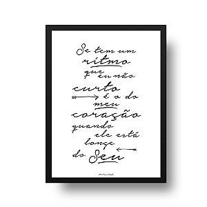 Quadro Decorativo Poster Ritmo do Coração - Frase, Amor, Namorados