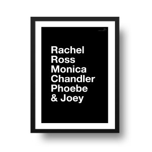 Quadro Decorativo Poster Série Friends Nomes - Rachel, Ross, Monica, Chandler, Phoebe, Joey