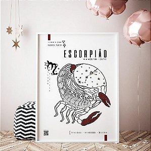 Quadro Decorativo Poster Signo Escorpião Com Realidade Aumentada