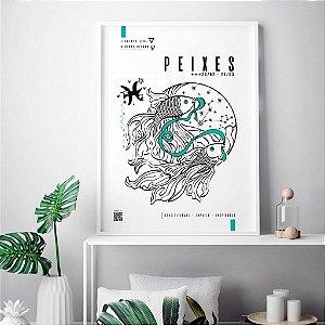 Quadro Decorativo Poster Signo Peixes Com Realidade Aumentada