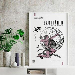 Quadro Decorativo Poster Signo Sagitário Com Realidade Aumentada