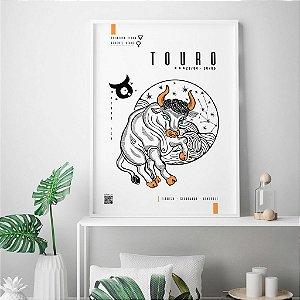 Quadro Decorativo Poster Signo Touro Com Realidade Aumentada