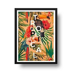 Quadro Decorativo Poster Tropical - Floral, Flores, Arara, Tucano