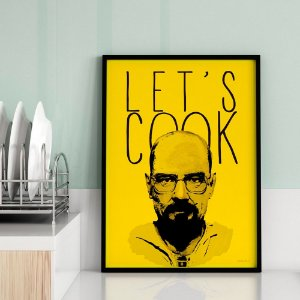 Quadro Decorativo Poster TV Série Breaking Bad Heisenberg - Let's Cook, Amarelo