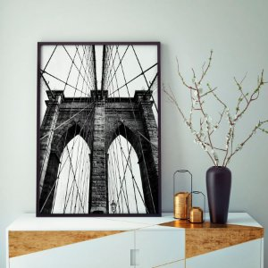 Quadro Decorativo Poster Brooklyn Bridge - Fotografia, Ponte, New York, Preto e Branco