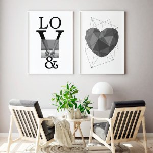 Conjunto 2 Quadros Decorativos Love + Coração Cinza - Amor, Minimalismo, Preto e Branco