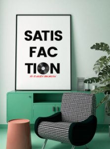Quadro Decorativo Poster Satisfaction - Frase, Música, Banda, Rock, Rolling Stones