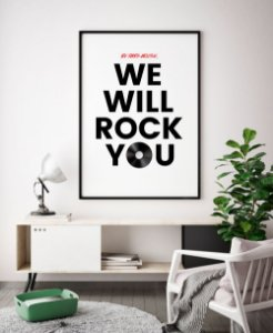Quadro Decorativo Poster We Will Rock You - Frase, Música, Banda, Rock, Queen