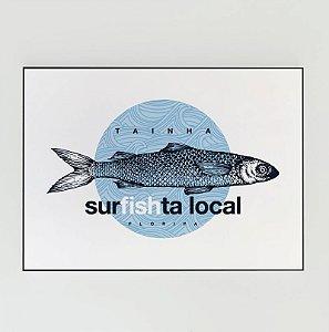 Quadro Decorativo Poster Tainha Surfista - Floripa, Florianópolis, Santa Catarina, Peixe