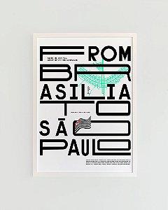 Quadro Decorativo Poster Alma da City From Brasília To São Paulo Fundo Branco
