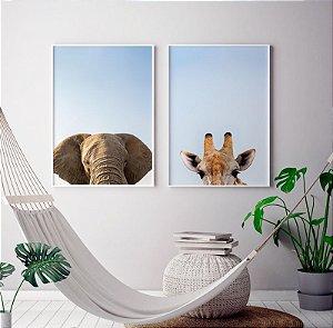Conjunto 2 Quadros Decorativos Fotografias Elefante e Girafa - Animais, África, Minimalista