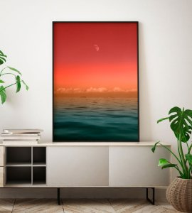 Quadro Decorativo Poster Fotografia Pôr do Sol no Mar - Oceano, Céu, Colorido