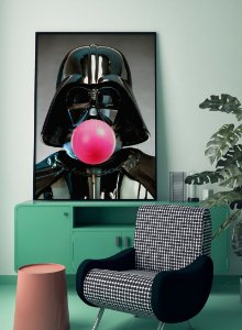 Quadro Decorativo Poster Darth Vader Bola de Chiclete - Filme, Star Wars, Pop Art