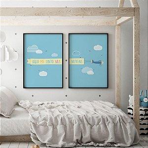 Conjunto 2 Quadros Decorativos Avião Nas Nuvens - Quarto de Criança