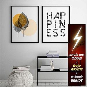 Quadro Folhinhas + Quadro Happiness + E-Book Minimalismo: Frete Grátis, Envio Expresso