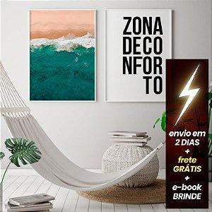 Quadro Praia Aérea + Quadro Zona Conforto + E-Book Minimalismo: Frete Grátis, Envio Expresso