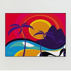 Quadro Decorativo Poster Cidade Maravilhosa Tom Veiga - Dois Irmãos, Praia, Calçadão