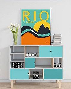 Quadro Decorativo Poster Rio de Janeiro Tom Veiga - Surf, Ondas, Ipanema