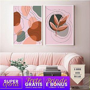 Conjunto 2 Quadros Abstrato Rosé  + Brindes e Bônus: Flâmula, E-Book, Frete Grátis e Envio Expresso
