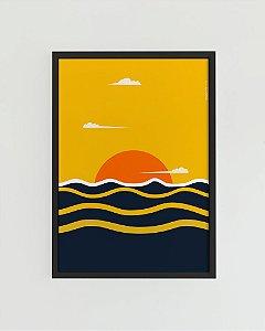 Quadro Decorativo Poster Céu Dourado, Arte Alma Da City - Sol, Oceano