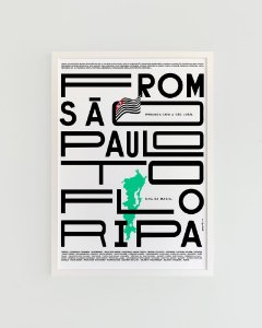 Quadro Decorativo Poster Alma da City From São Paulo To Floripa Fundo Branco