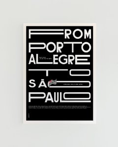Quadro Decorativo Poster Alma da City From Porto Alegre To São Paulo Fundo Preto