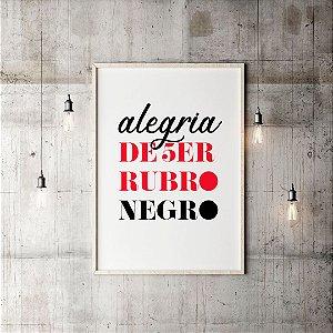 Quadro Decorativo Poster Flamengo: Alegria de Ser Rubro-Negro