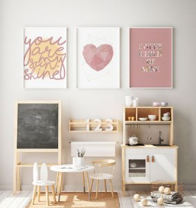 Conjunto 3 Quadros Decorativos You Are My Sunshine, Coração Rosé, Sweet Child Of Mine