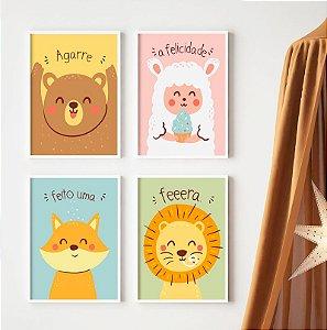 Conjunto 4 Quadros Decorativos Urso, Ovelha, Raposa, Leão - Quarto Criança