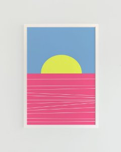 Quadro Decorativo Poster Pôr do Sol Mar Rosa