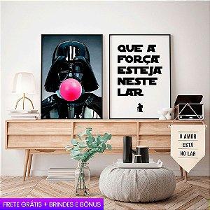 Quadro Darth Vader + Quadro Yoda + Flâmula Amo no Lar + E-Book: Frete Grátis, Envio Expresso