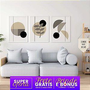 Conjunto 3 Quadros Tons Cinza + Flâmula Amor no Lar + E-Book: Frete Grátis, Envio Expresso